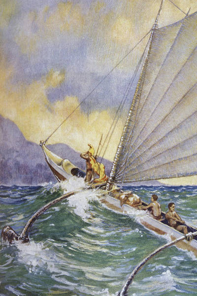 Legacy Wall Art - Painting - Outrigger At Sea by Hawaiian Legacy Archive - Printscapes