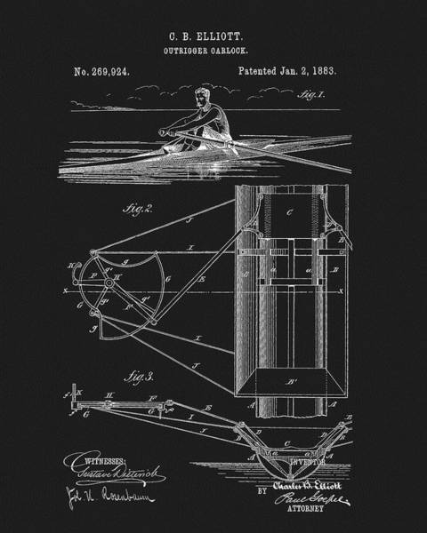 Drawing - Outrigger Oarlock Patent by Dan Sproul
