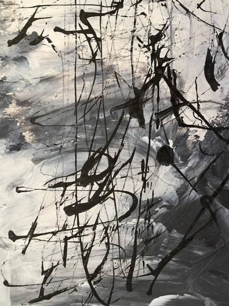 Painting - Abstract Black And White Landscape Painting, Outside by Itsonlythemoon