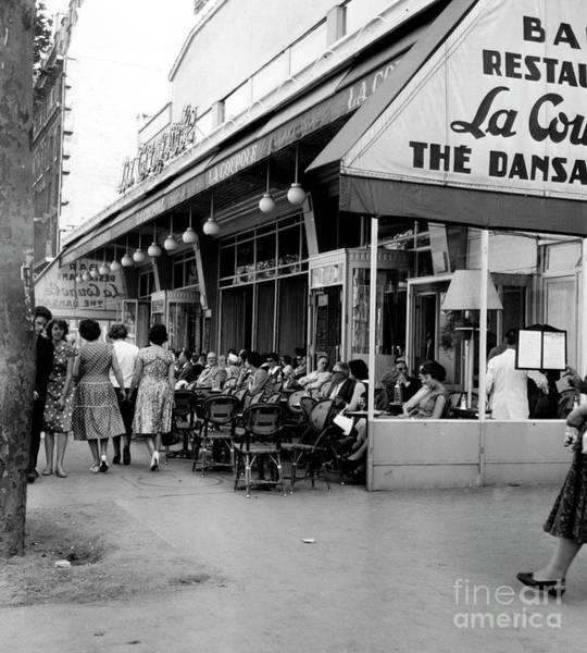 Brasserie Wall Art - Photograph - Outside Restaurant La Coupole In Montparnasse, Paris, 1959  by French School
