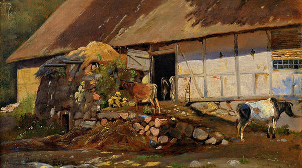 Painting - Outside The Cowshed by Johan Thomas Lundbye