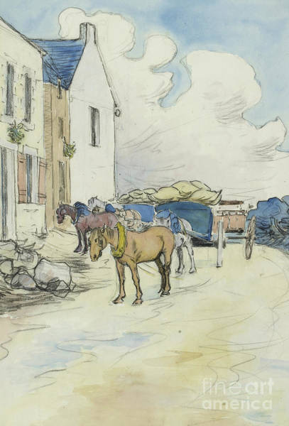 Delivering Painting - Outside The Wine Shop  by Robert Polhill Bevan