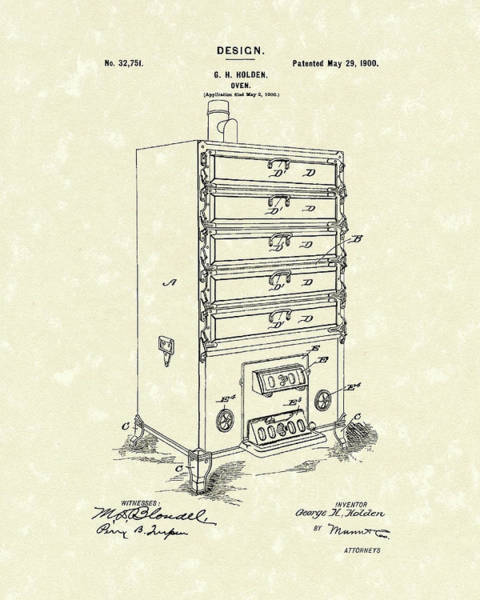 Hotel Drawing - Oven Design 1900 Patent Art by Prior Art Design