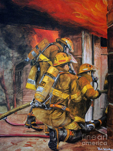 Fireman Wall Art - Painting - Over Head Heat by Paul Walsh