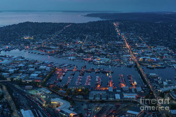 Safeco Field Photograph - Over Seattle Ballard And Interbay Dusk by Mike Reid