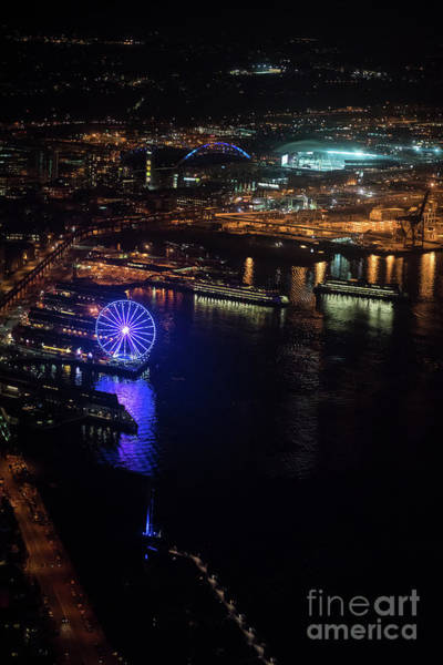 Safeco Field Photograph - Over Seattle The Great Wheel At Night by Mike Reid