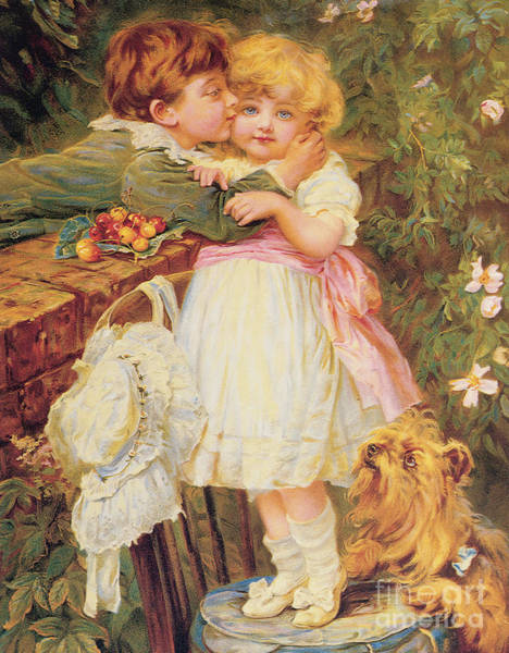 Bonnet Painting - Over The Garden Wall by Frederick Morgan