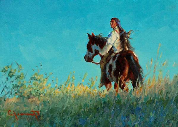Lakota Painting - Over The Horizon by Jim Clements