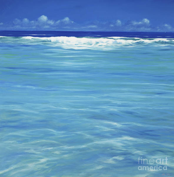 Wave Breaking Painting - Over The Reef  by Derek Hare