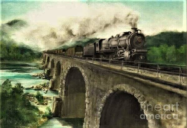 Trains Painting - Over The River by David Mittner