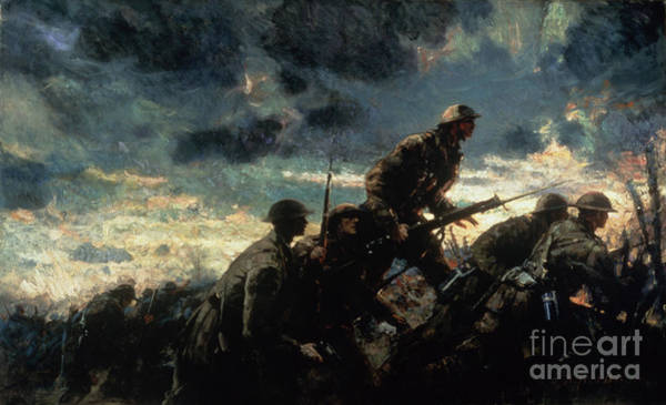 Warfare Painting - Over The Top by Alfred Bastien