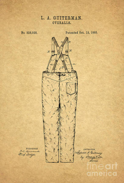 Wall Art - Digital Art - Overalls Patent 1885 1 by Nishanth Gopinathan