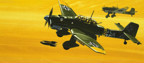 Bomber Painting - Overboard Junkers Ju87 Stuka Dive Bomber by Wilf Hardy