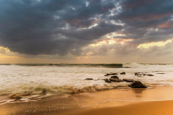 Killcare Photograph - Overcast Sunrise Seascape With Big Surf by Merrillie Redden