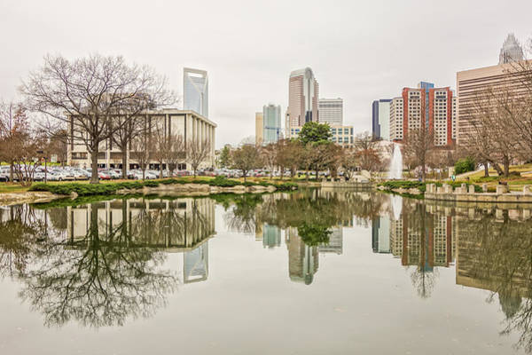Photograph - Overcast Weather Over Charlotte Nc Skyline by Alex Grichenko