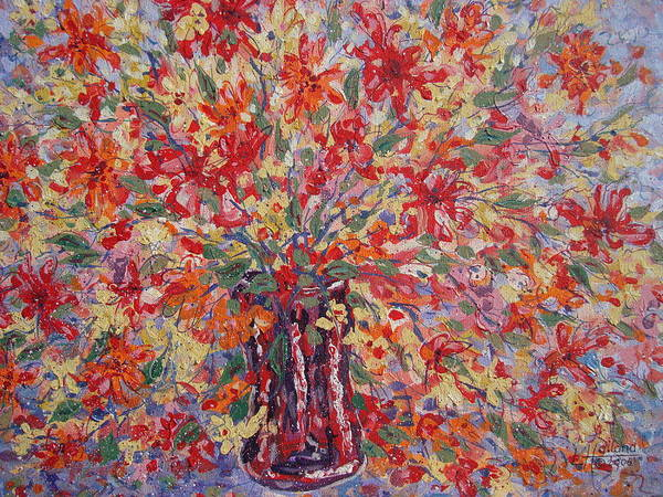 Wall Art - Painting - Overflowing Flowers. by Leonard Holland