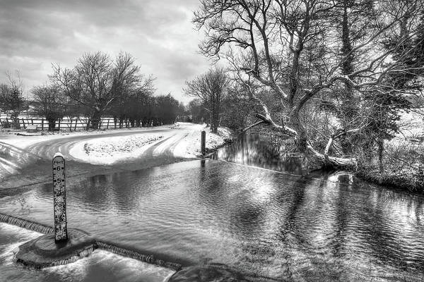 Photograph - Overflowing River In Black And White by Gill Billington