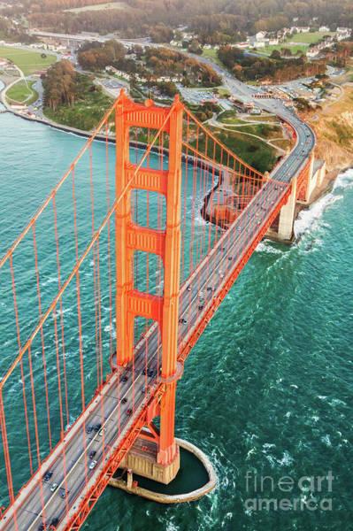 Wall Art - Photograph - Overhead Aerial Of Golden Gate Bridge, San Francisco, Usa by Matteo Colombo