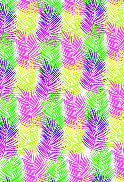 Neon Digital Art - Overlaid Leaves by Louisa Knight