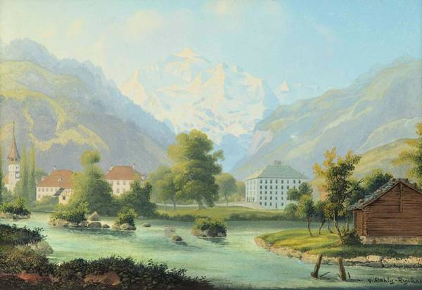 Vienna Painting - overlooking Interlaken and the Jungfrau by MotionAge Designs