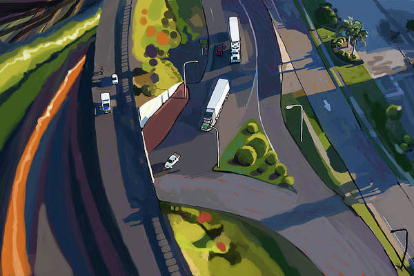 Highway Painting - Overpass And Trucks by Brad Burns