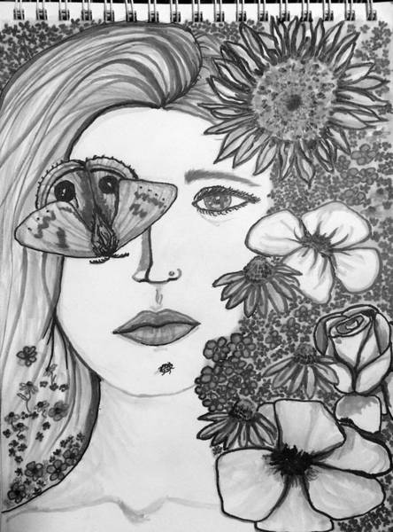 Lady Bug Drawing - Overwhelmed by Amber Carter
