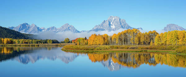 Photograph - Oxbow Bend Pano In Autumn by D Robert Franz