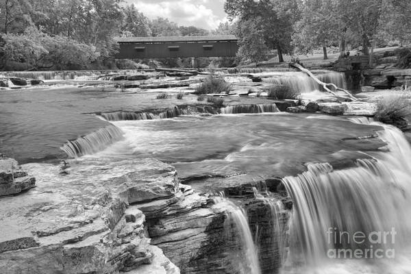 Photograph - Owen County Cataract Falls Black And White by Adam Jewell