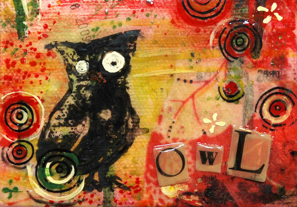 Transfer Mixed Media - Owl - Miniature Art by Jennifer Kelly
