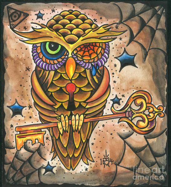 Tattoo Flash Painting - Owl #1 by Jonathan VanderMey