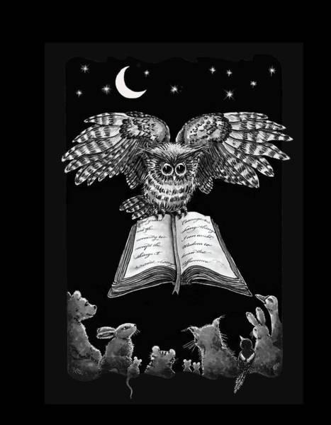 Owl And Friends Blackwhite Art Print