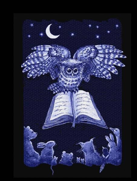 Owl And Friends Indigo Blue Art Print