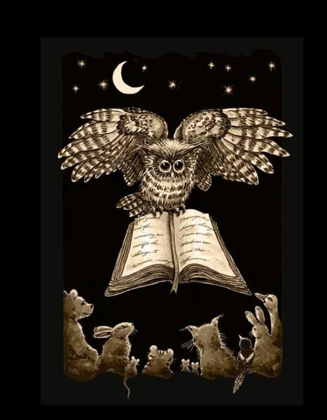 Digital Art - Owl And Friends Sepia by Retta Stephenson