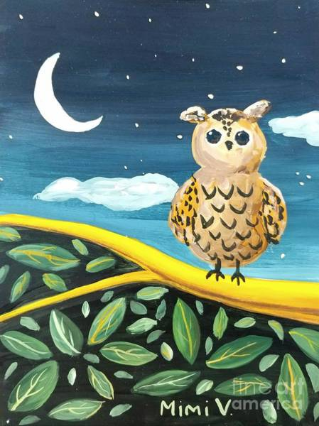 Painting - Owl And Moon by Maria Langgle