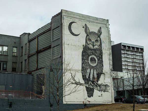Fayetteville Photograph - Owl And Moon Mural - Downtown Fayetteville Arkansas  by Gregory Ballos