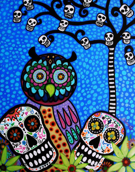 Wall Art - Painting - Owl And Sugar Day Of The Dead by Pristine Cartera Turkus