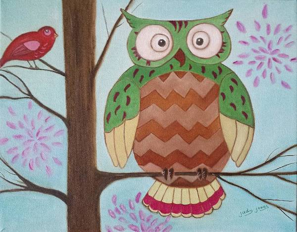 Wall Art - Painting - Owl Art by Judy Jones