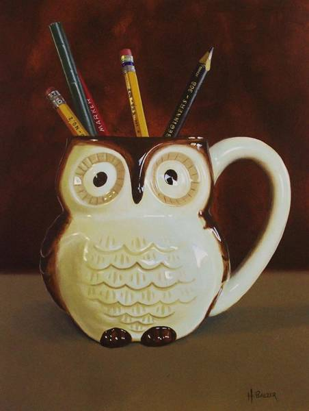 Writing Painting - Owl Cup by Henry Balzer