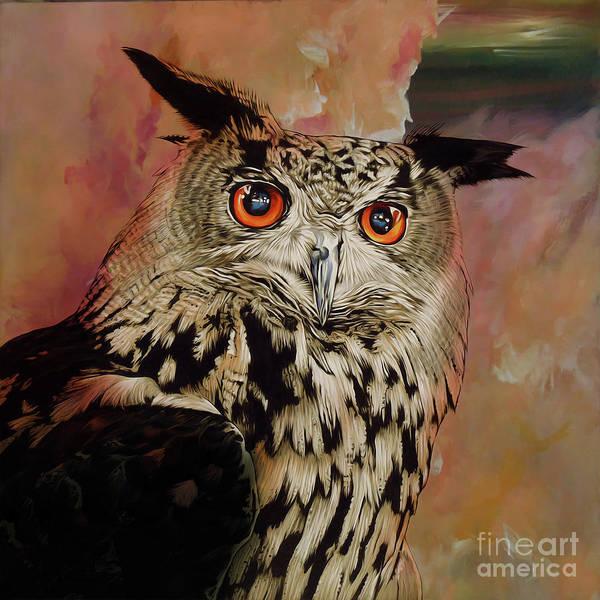 Wall Art - Painting - Owl Eyes by Gull G