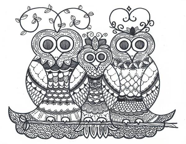 Drawing - Owl Family by Caroline Sainis