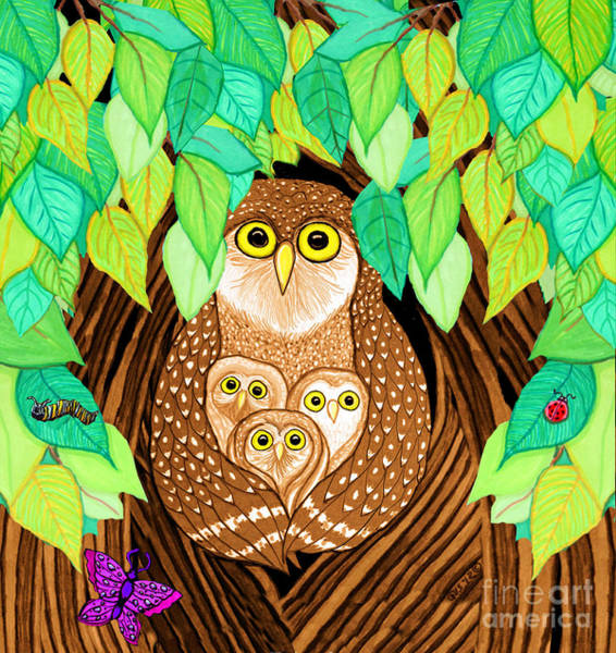 Lady Bug Drawing - Owl Family Tree by Nick Gustafson