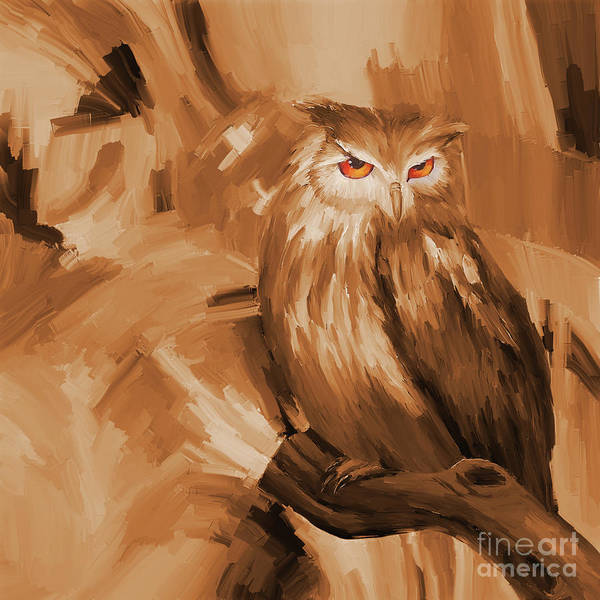 Wall Art - Painting - Owl  by Gull G