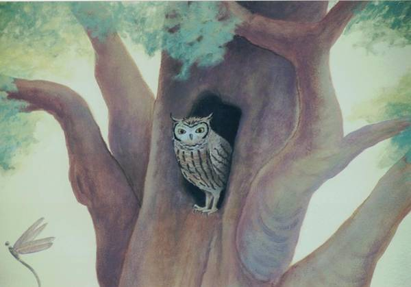 Painting - Owl In Tree by Suzn Smith
