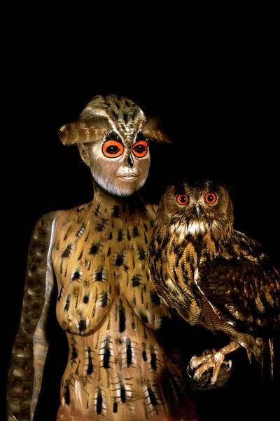 Bodypaint Wall Art - Painting - Owl by Johannes Stoetter