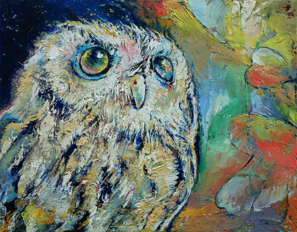 Hoot Wall Art - Painting - Owl by Michael Creese