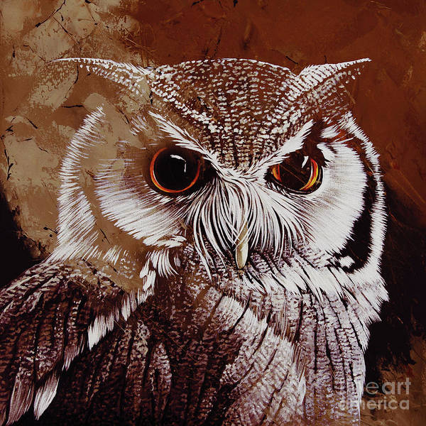Wall Art - Painting - Owl Painting  by Gull G