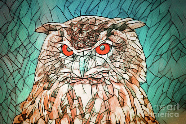 Digital Art - Owl Portrait by Angela Doelling AD DESIGN Photo and PhotoArt