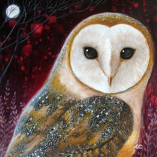 Red Moon Painting - Owl Power Animal by Amanda Clark