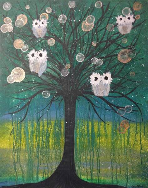 Painting - Owl Tree Of Life #378 by MiMi Stirn