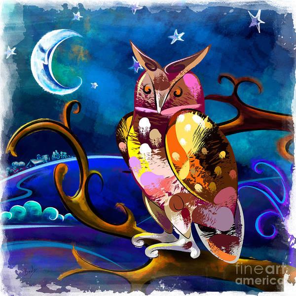 Wall Art - Digital Art - Owl Watching The Moon by Peter Awax